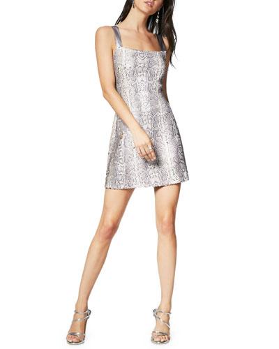 Adrian Sequin Snake-Print Mini Dress