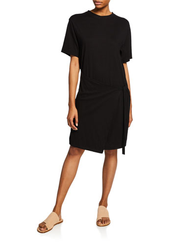 Asymmetric Side-Tie Tee Dress