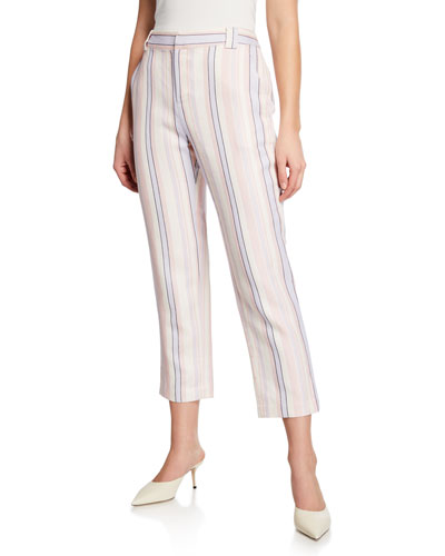 Ginger Striped Linen-Blend Cropped Pants