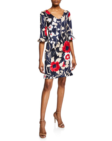 Trina Turk  JARDIN DE PARIS FAILLE V-NECK DRESS WITH RUFFLE TRIM
