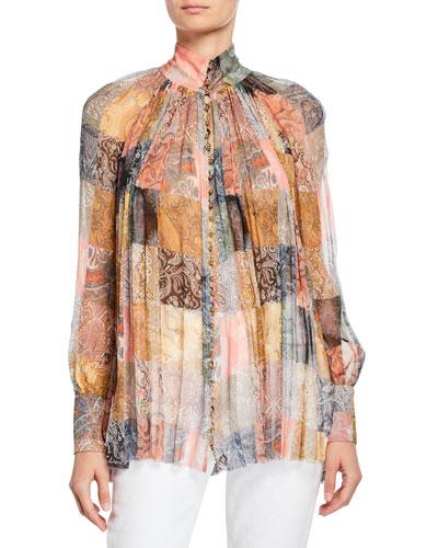 Printed High-Neck Smocked Silk Top
