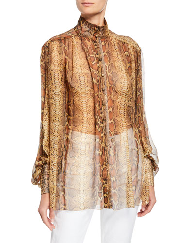 High-Neck Silk Snake-Print Button-Up Blouse