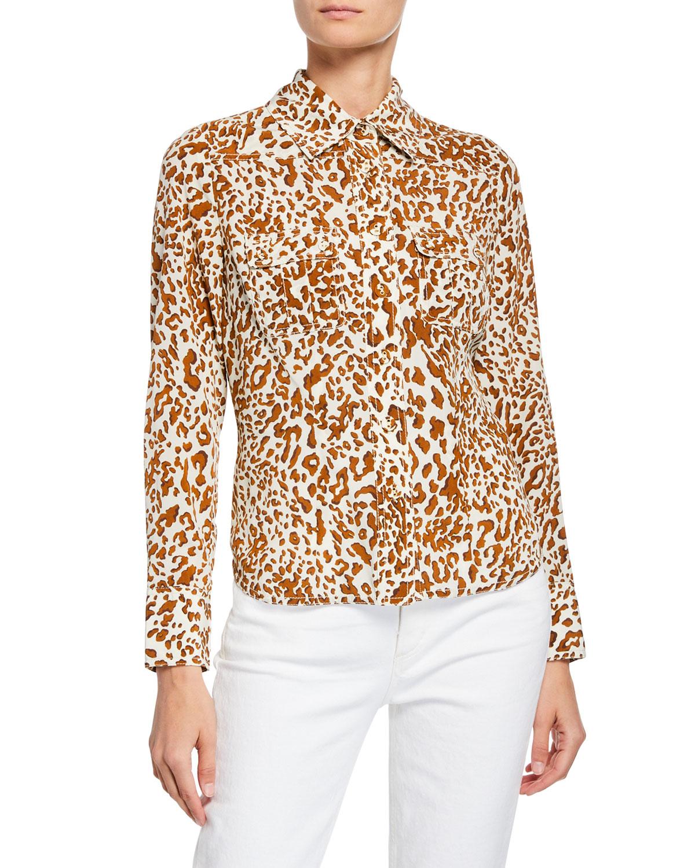 117bb16132740 Zimmermann Leopard-Print Button-Down Silk Utility Shirt