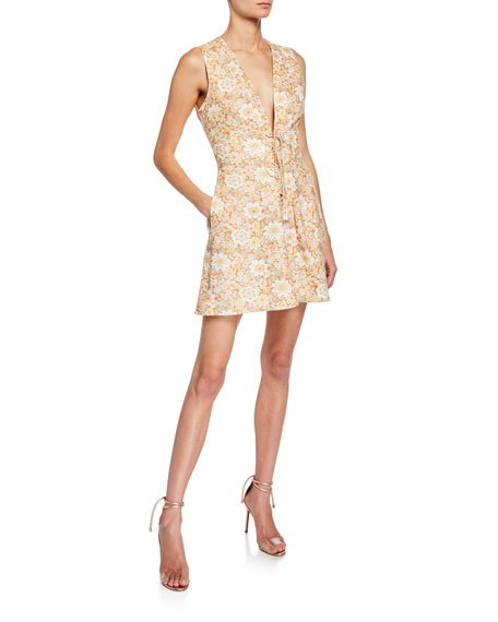Zimmermann Dresses ZIPPY FLORAL-PRINT V-NECK SLEEVELESS LACE-UP MINI DRESS