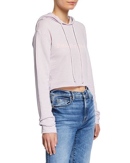 Wildfox CROPPED GRAPHIC PULLOVER HOODIE
