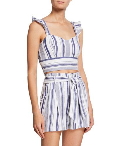 Ibiza Sleeveless Striped Crop Top