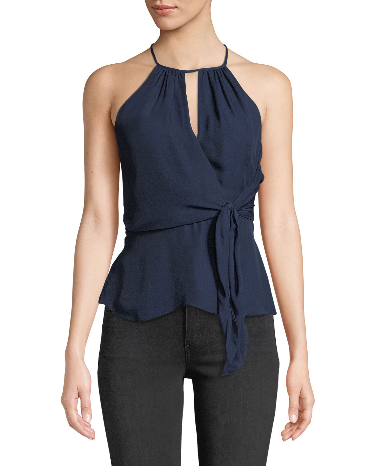 0be1dc70eab620 Parker Sally Halter-Neck Top with Tie-Front Detail