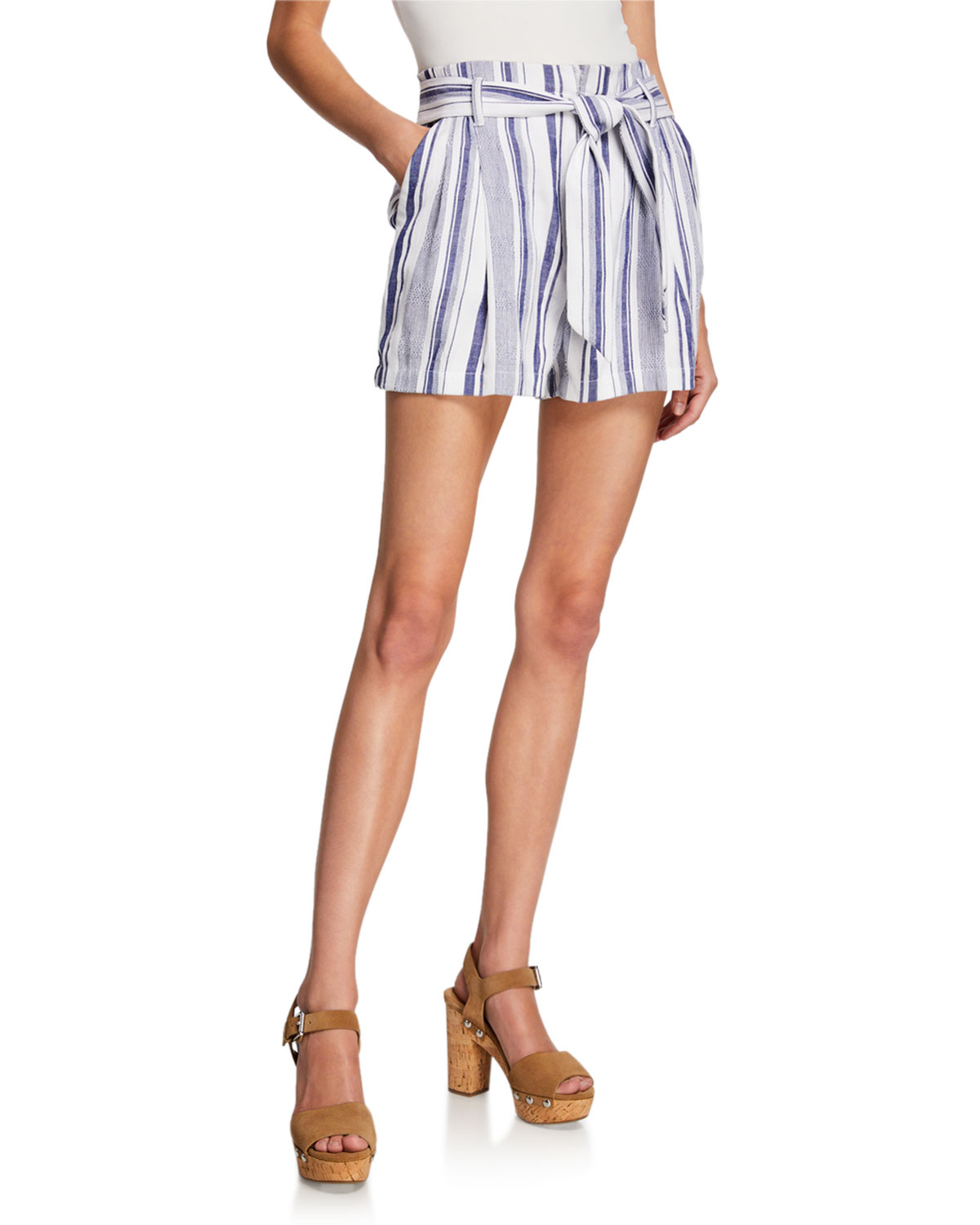 Image result for Parker Kirby Striped Tie-Waist Shorts