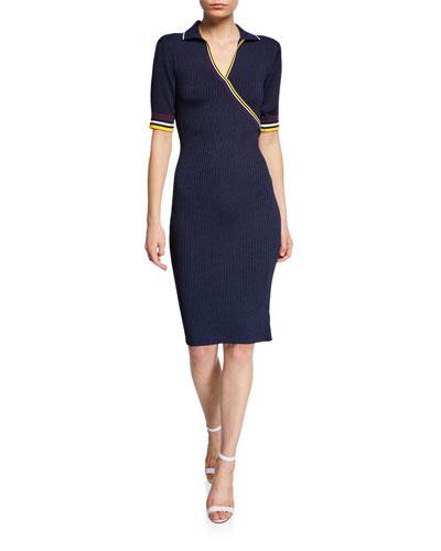 Monty Short-Sleeve Rib-Knit Dress w/ Striped Trim