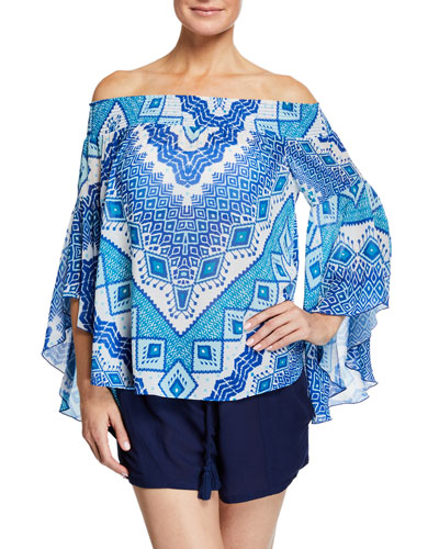 Elsie Printed Off-Shoulder Flutter-Sleeve Top