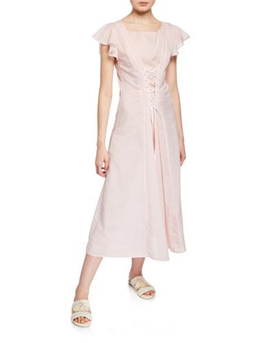 Shelter Lace-Up Cotton Coverup Dress