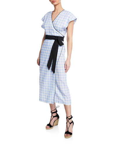 Coopers Belted Check Short-Sleeve Linen Dress