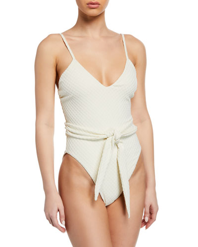 Gamela Belted High-Cut One-Piece Swimsuit