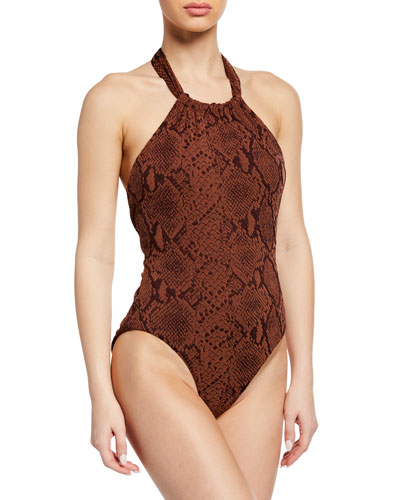 Dominique Snake-Print Halter One-Piece Swimsuit