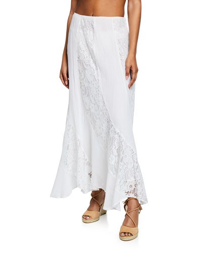Haveli Maxi Skirt with Lace Insets