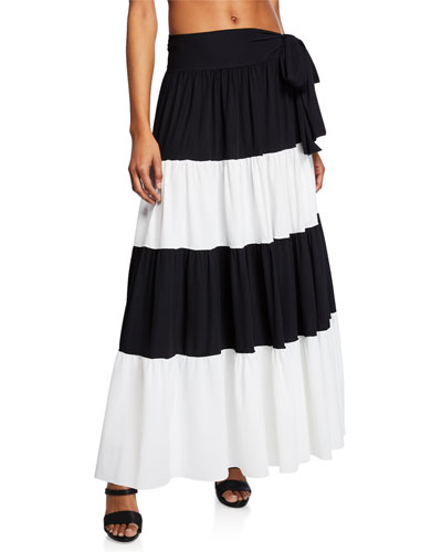 Vittoria Side-Tie Colorblock Maxi Skirt