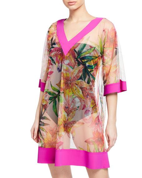 Chiara Boni La Petite Robe Bryce Sheer Floral-Print