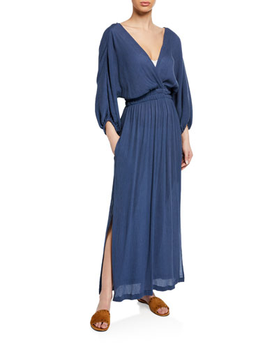 Plus Size Nami Surplice Long-Sleeve Woven Maxi Dress