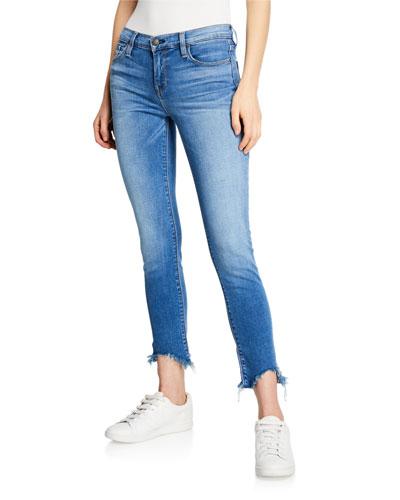 Tally Mid-Rise Crop Skinny Jeans w/ Frayed Hem