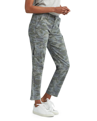 Relaxed Camo-Print Cropped Cargo Pants
