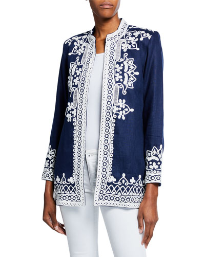 Ceci Embroidered Mandarin Collar Open-Front Jacket