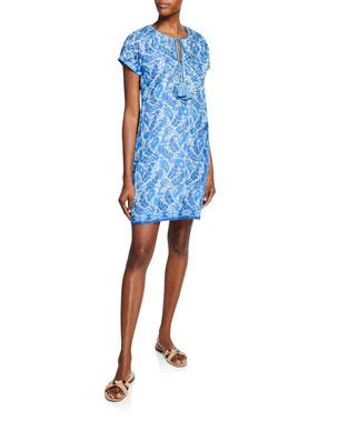 c6c6df0d09 Bella Tu Abby Split-Neck Cap-Sleeve Shift Dress with Hand-Beading