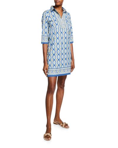 Quinn Ikat-Print 3/4-Sleeve Shirtdress