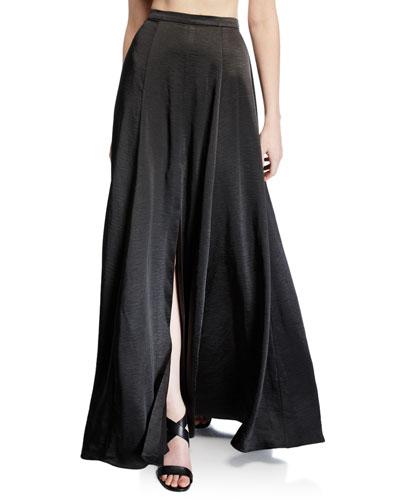 The Zita Front-Slit Satin Twill Skirt
