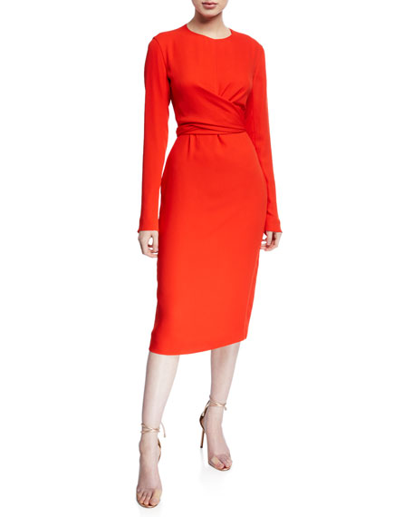 The Peridot Long-Sleeve Open-Back Dress