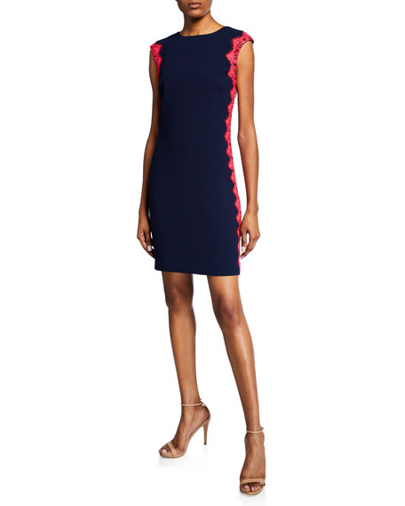 Trina Turk  WHIM CAP-SLEEVE CREPE DRESS WITH CONTRAST SIDES