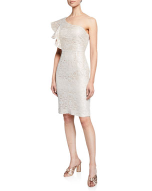 c9653b6d800 Trina Turk Launch Boardwalk Lace One-Shoulder Dress