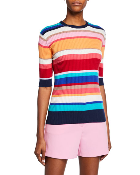 Trina Turk  AGENT STRIPED ELBOW-SLEEVE RIBBED COTTON SWEATER