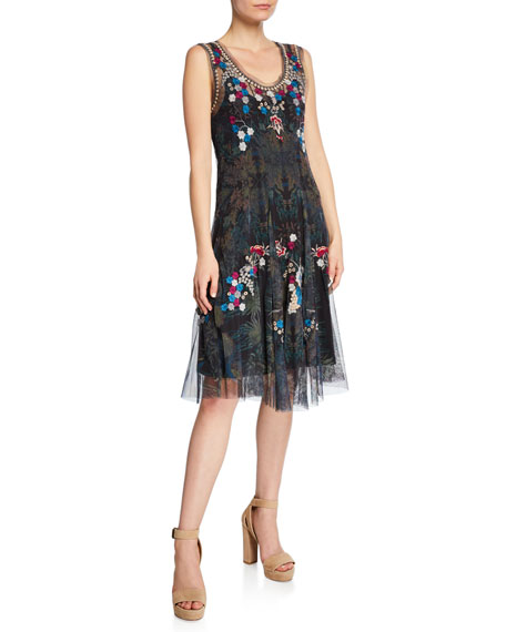 JOHNNY WAS Valeki Mesh Embroidered Sleeveless Dress in Multi