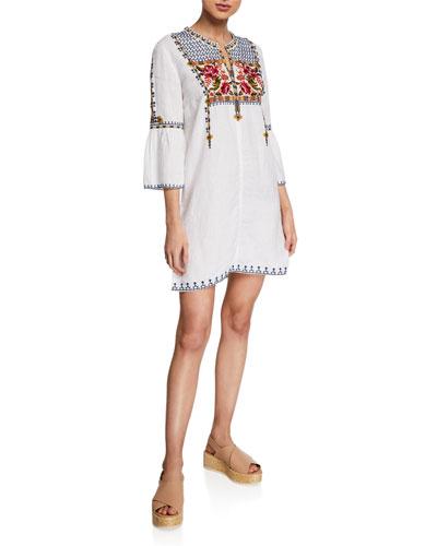 Axton Split-Neck Flute-Sleeve Tunic Dress, Plus Size
