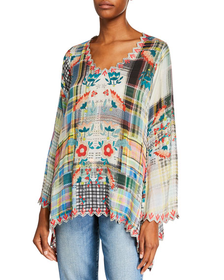 Johnny Was Dinah Flared-Sleeve Blouse with Embroidered Trim