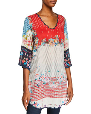 55d6712b033ed Johnny Was Plus Size Mixed-Print Long Georgette Tunic