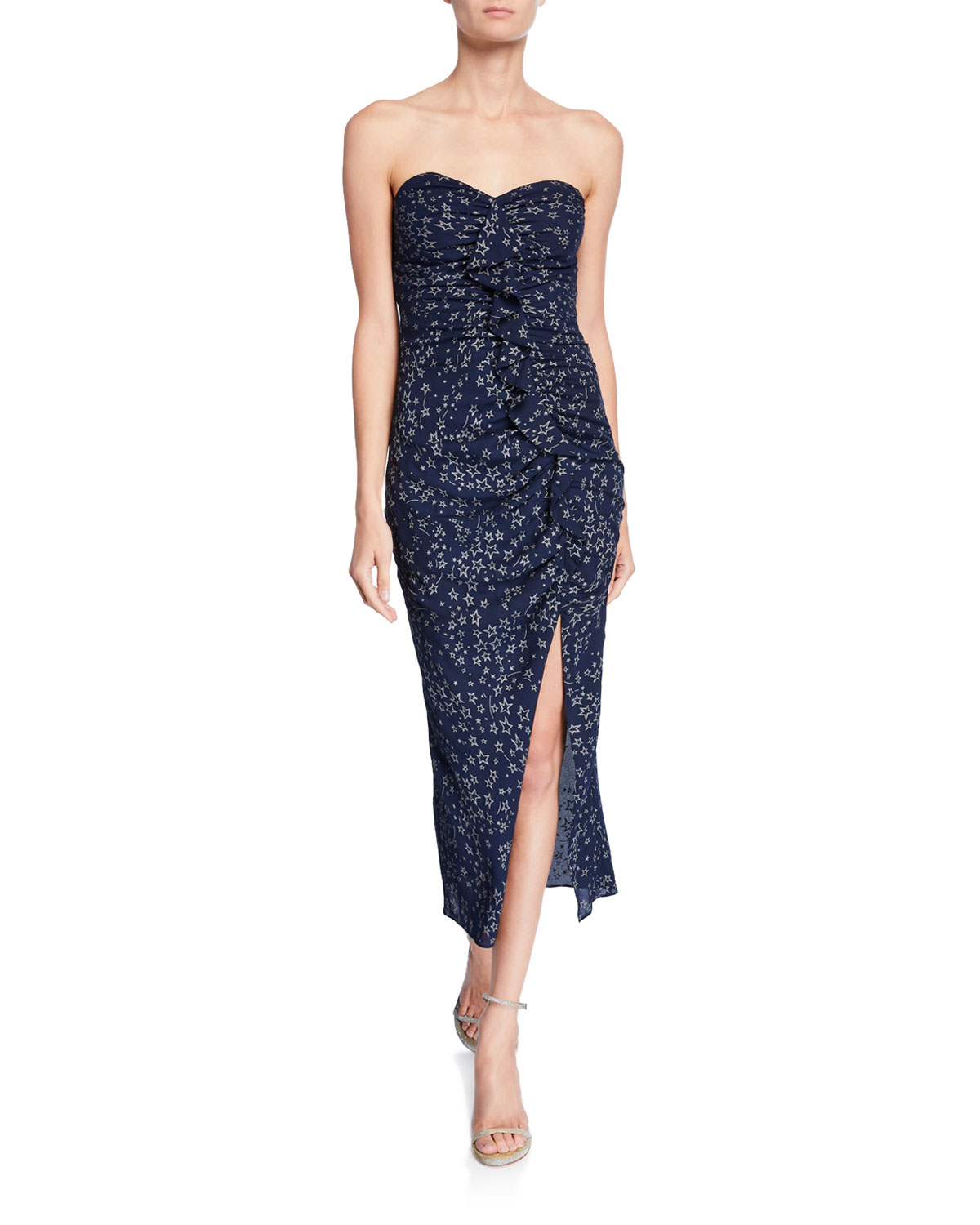 47e5315a53 Likely Ali Ruched Star-Print Ruffle Strapless Dress
