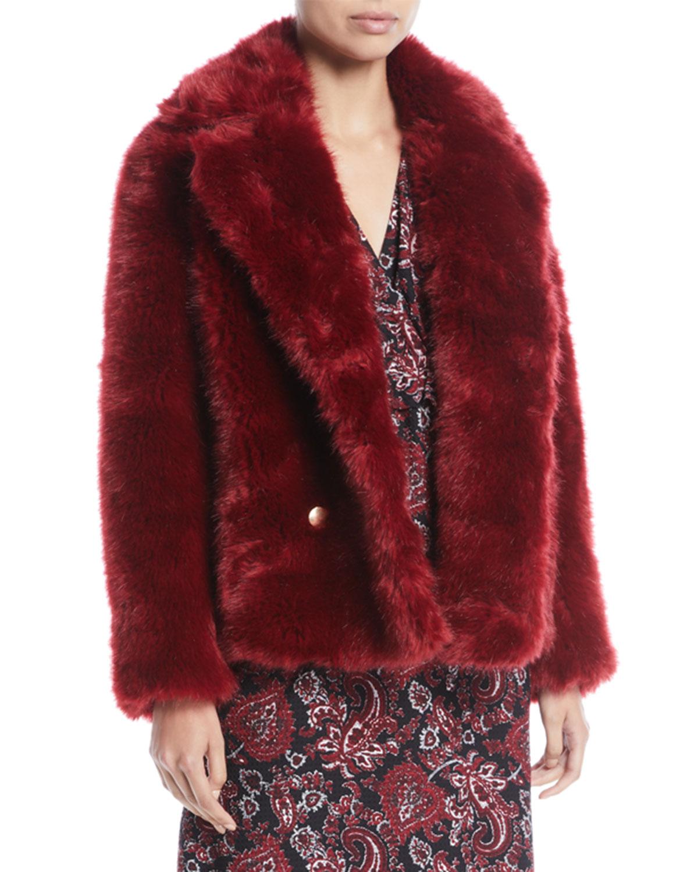 MICHAEL Michael Kors Faux-Fur Pea Coat | Neiman Marcus