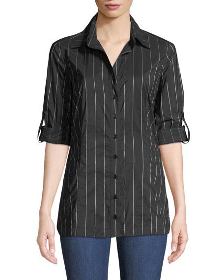 FINLEY Joey Long-Sleeve Button-Front Pinstripe Tech-Fabric Shirt in Black
