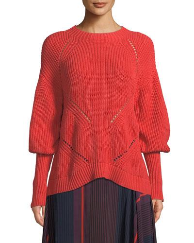 Landyn Long-Sleeve Eyelet Sweater