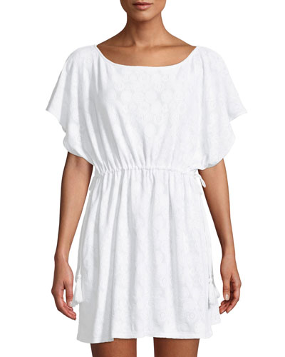 Medallion Drawstring Coverup Tunic