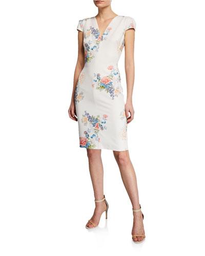 Maisie Floral-Print V-Neck Cap-Sleeve Sheath Dress