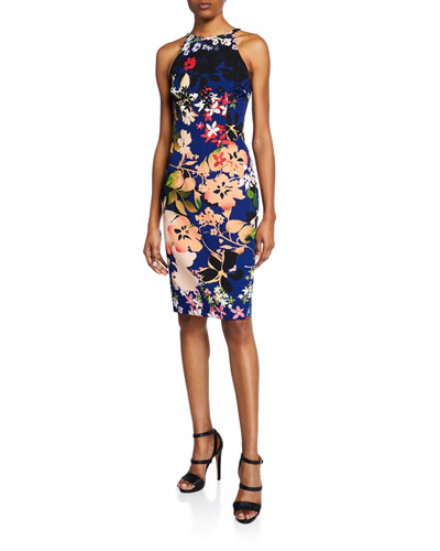 Montego Floral-Print Sleeveless Sheath Dress