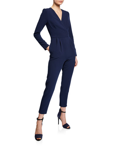 Andie Long-Sleeve Faux-Wrap Straight-Leg Cropped Jumpsuit