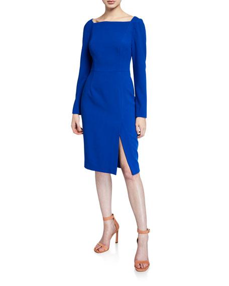 Black Halo Rachel High-Neck Long-Sleeve Sheath Dress with