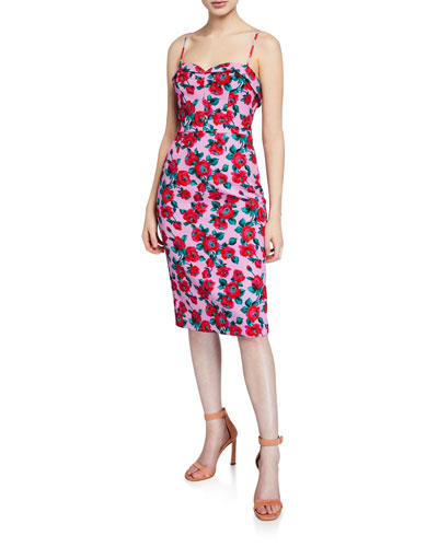 Clover Rose-Print Sweetheart Sleeveless Dress