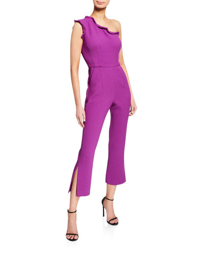 One-Shoulder Cropped Split-Leg Jumpsuit w/ Ruffle Trim