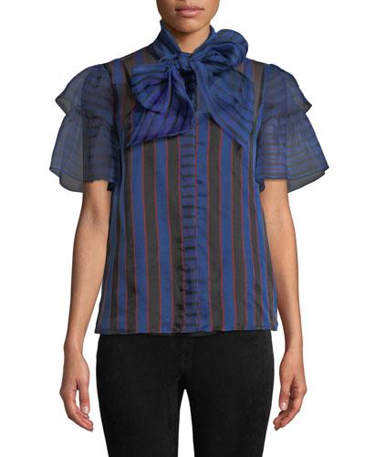 Talulah Tie-Neck Ruffle-Sleeve Blouse