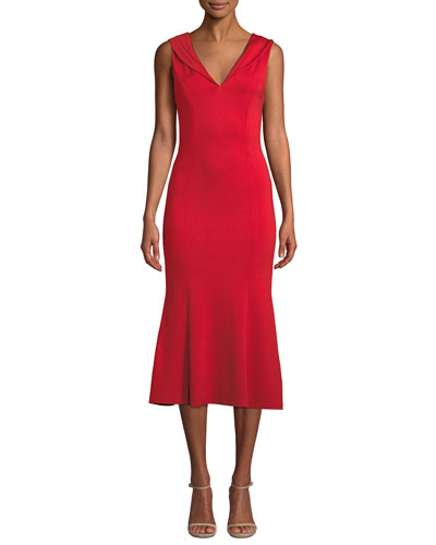 Cecilia Draped-Shoulder Sleeveless Cocktail Dress
