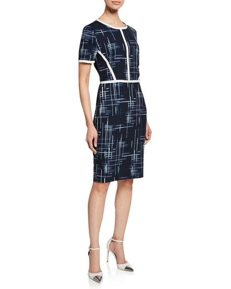 Badgley Mischka Dresses CROSS HATCH SHORT-SLEEVE SHEATH DRESS